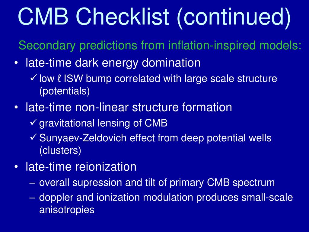 CMB Checklist (continued)