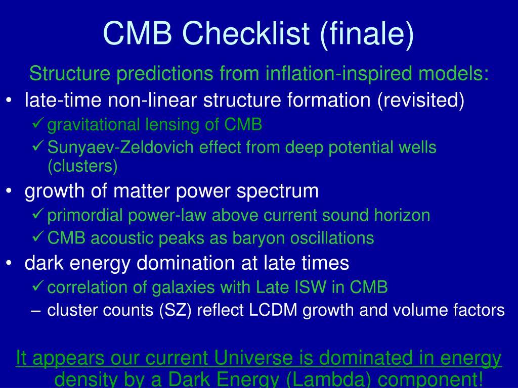CMB Checklist (finale)