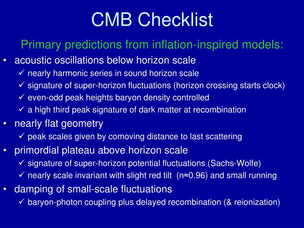 CMB Checklist