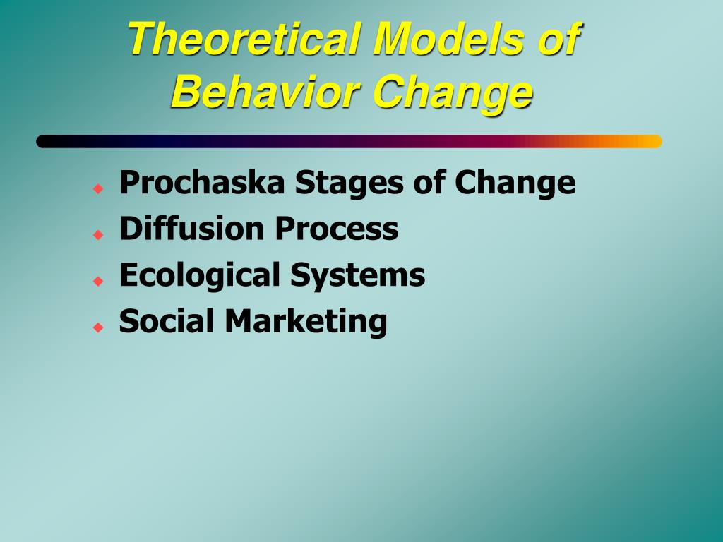 theoretical models for understanding behavior Start studying chapter 4-health behavior change models/theories learn vocabulary, terms, and more with flashcards, games, and other study tools.