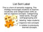 list sort label