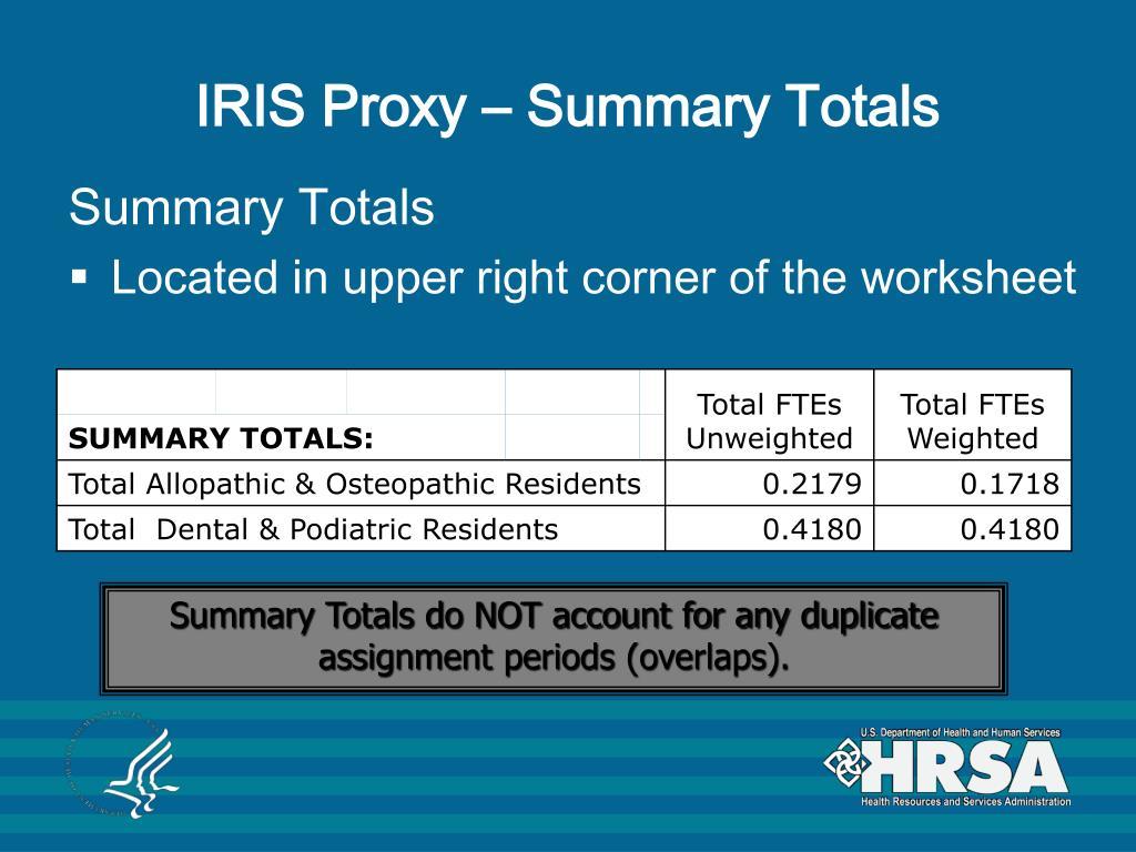 IRIS Proxy – Summary Totals