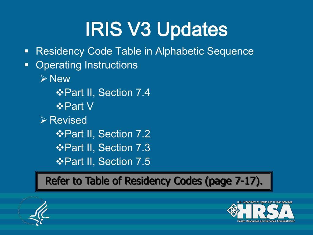 IRIS V3 Updates