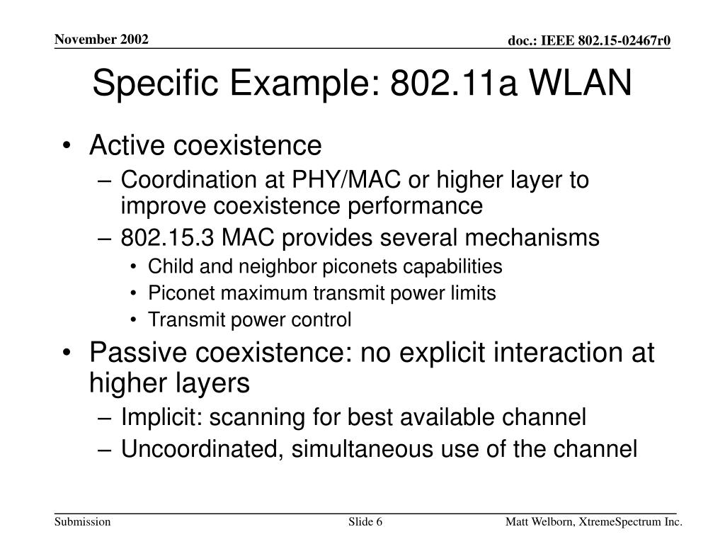 Specific Example: 802.11a WLAN