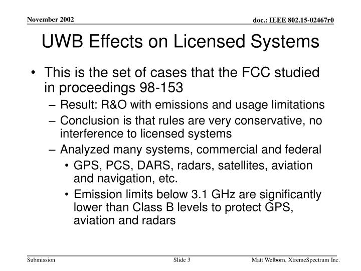 Uwb effects on licensed systems