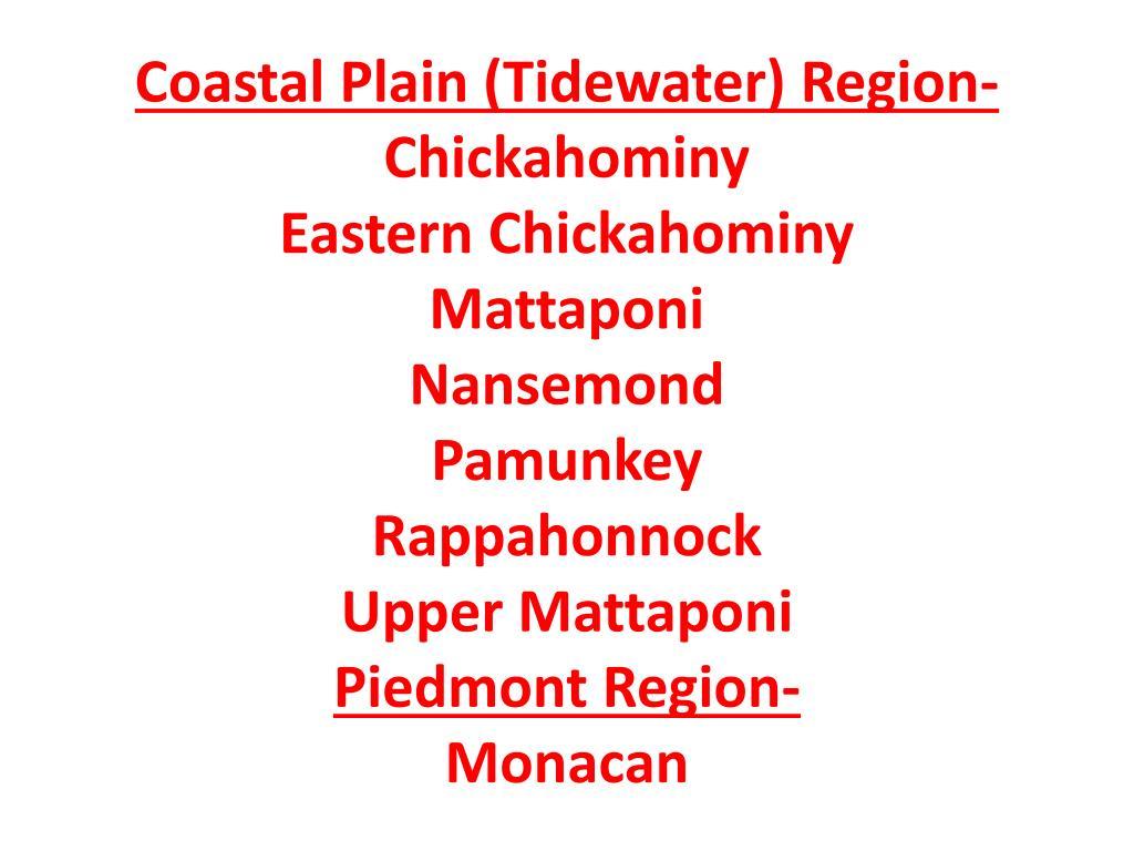 Coastal Plain (Tidewater) Region-