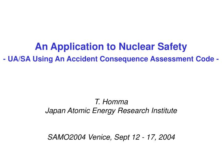 An application to nuclear safety ua sa using an accident consequence assessment code