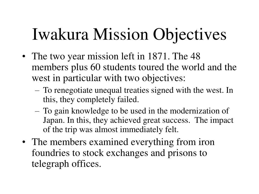 Iwakura Mission Objectives