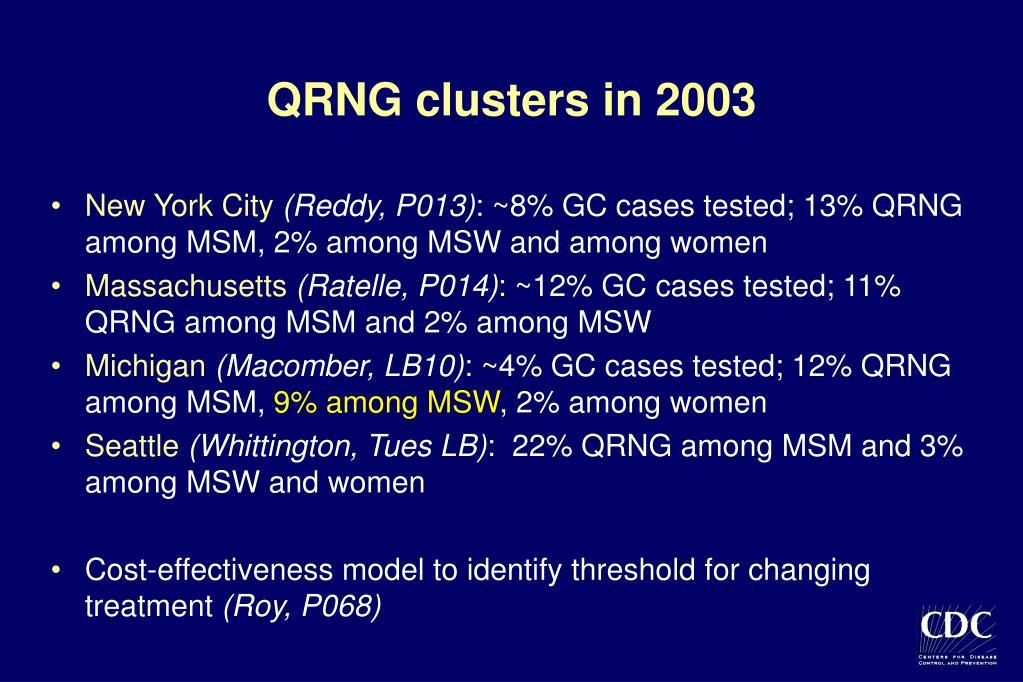 QRNG clusters in 2003