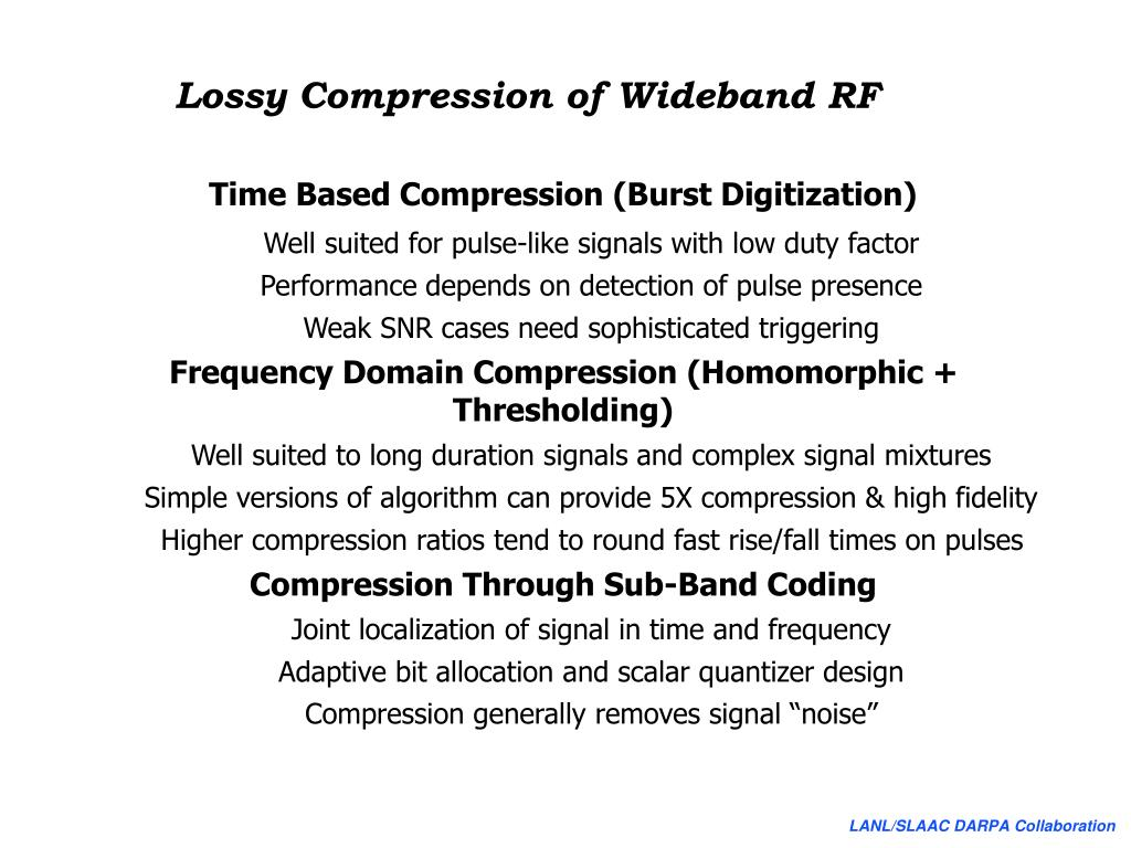 Lossy Compression of Wideband RF