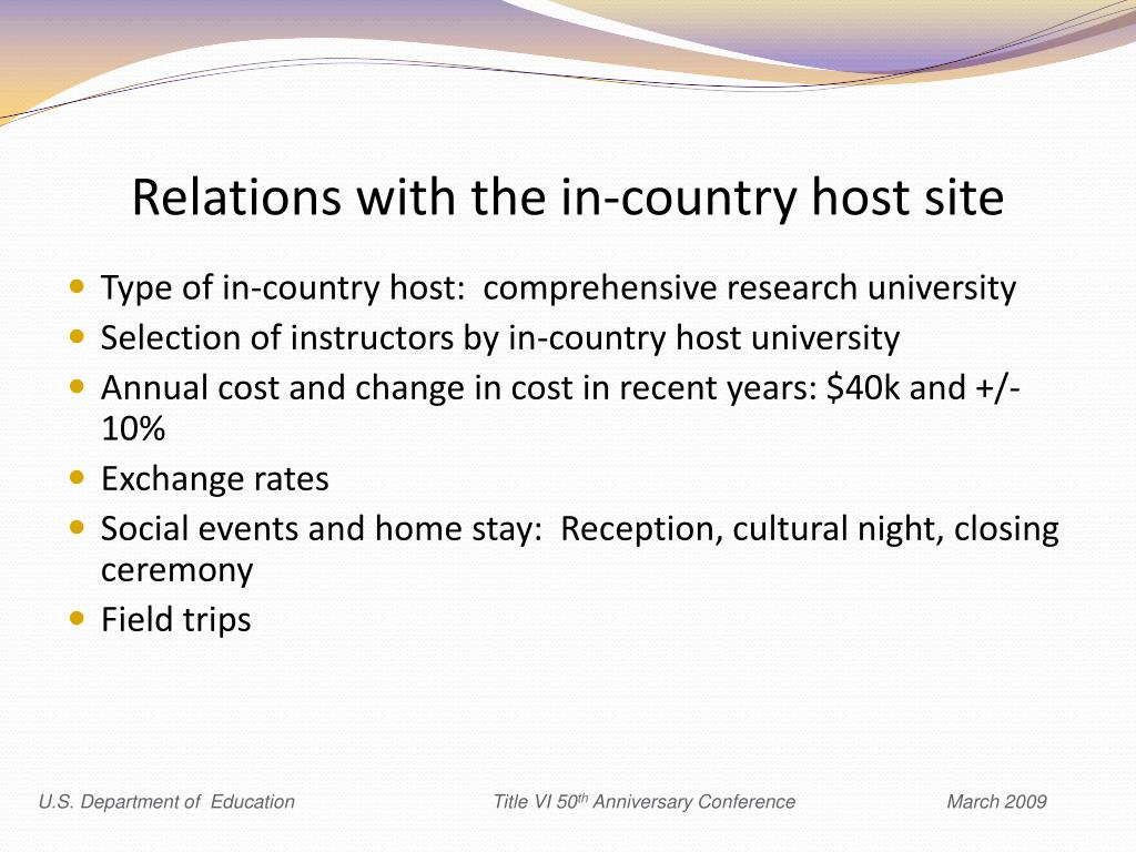 Relations with the in-country host site