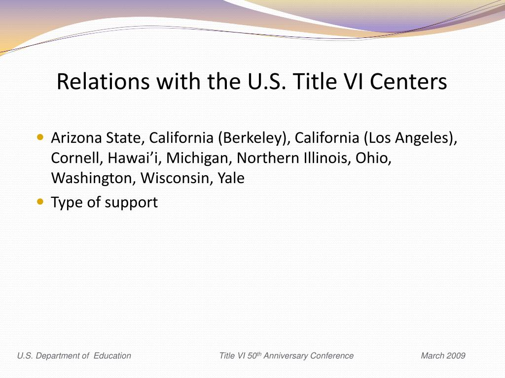 Relations with the U.S. Title VI Centers