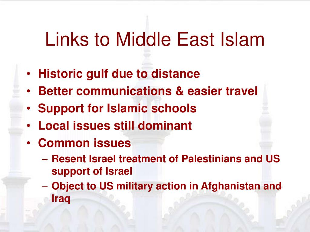 Links to Middle East Islam