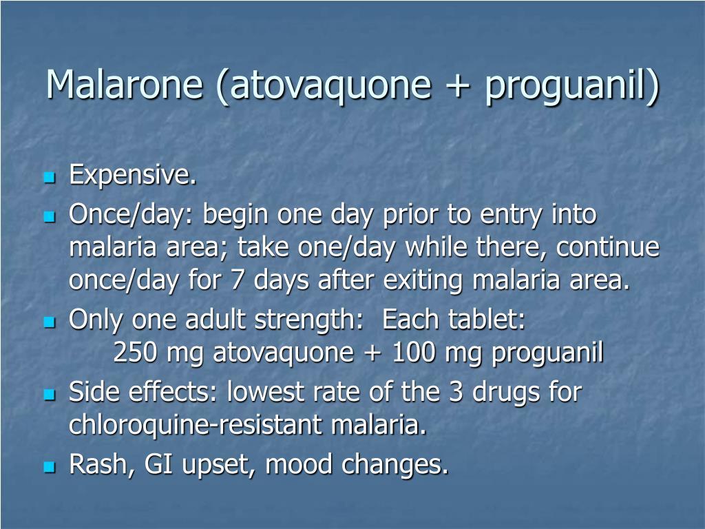 Malarone (atovaquone + proguanil)