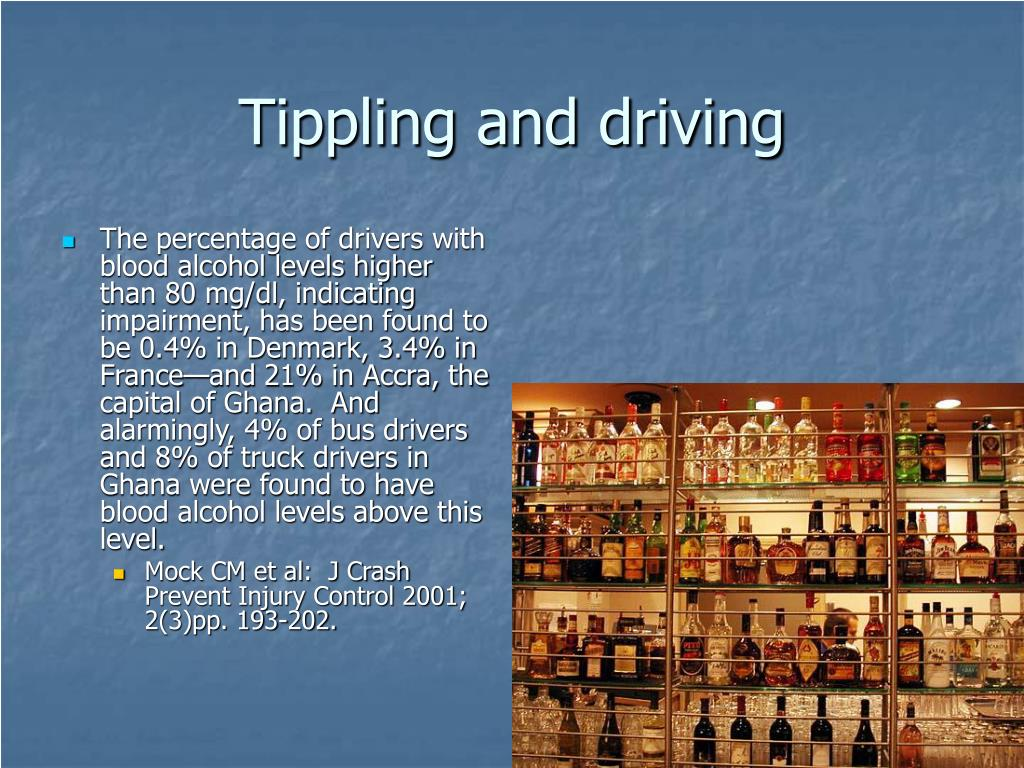 Tippling and driving