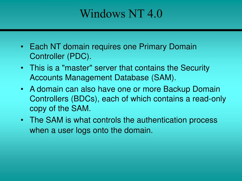 an introduction to the analysis of windows nt Attackers love windows services because they run under nt authority\system, which is the highest level of privileged account available permitting them to do almost anything they want on the system and bypasses uac on windows 7 and 8 windows services come in two types: own process and share process.