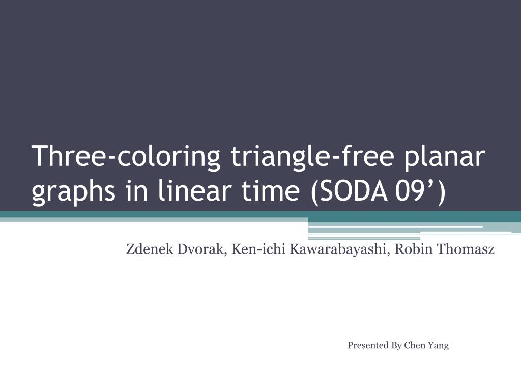 Three-coloring triangle-free planar graphs in linear time (SODA 09')