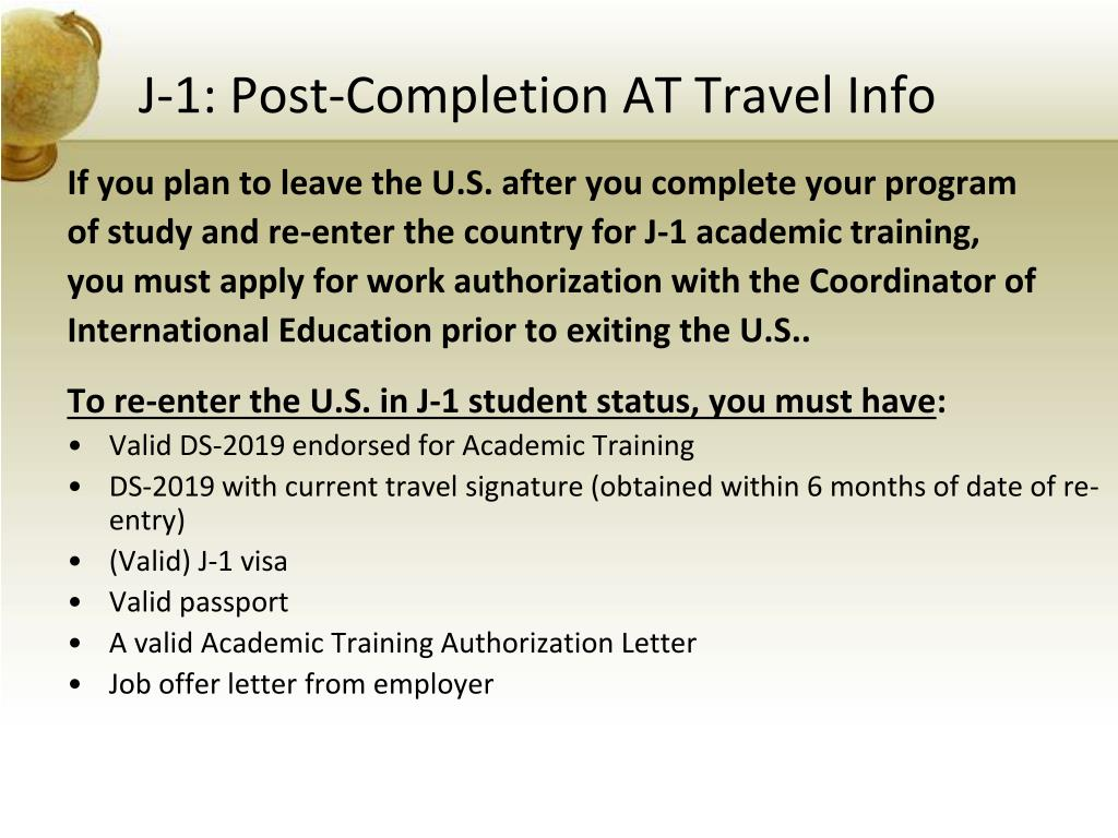 J-1: Post-Completion AT Travel Info