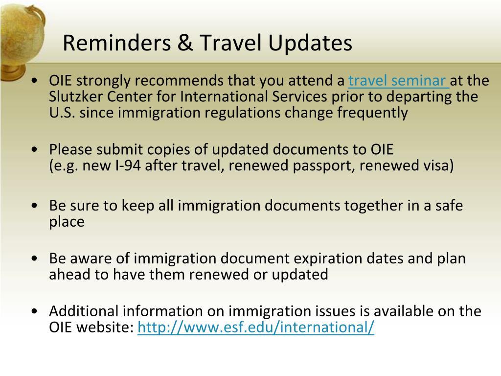 Reminders & Travel Updates