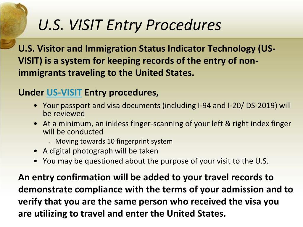 U.S. VISIT Entry Procedures