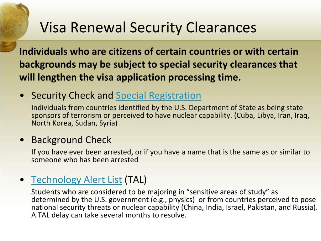Visa Renewal Security Clearances