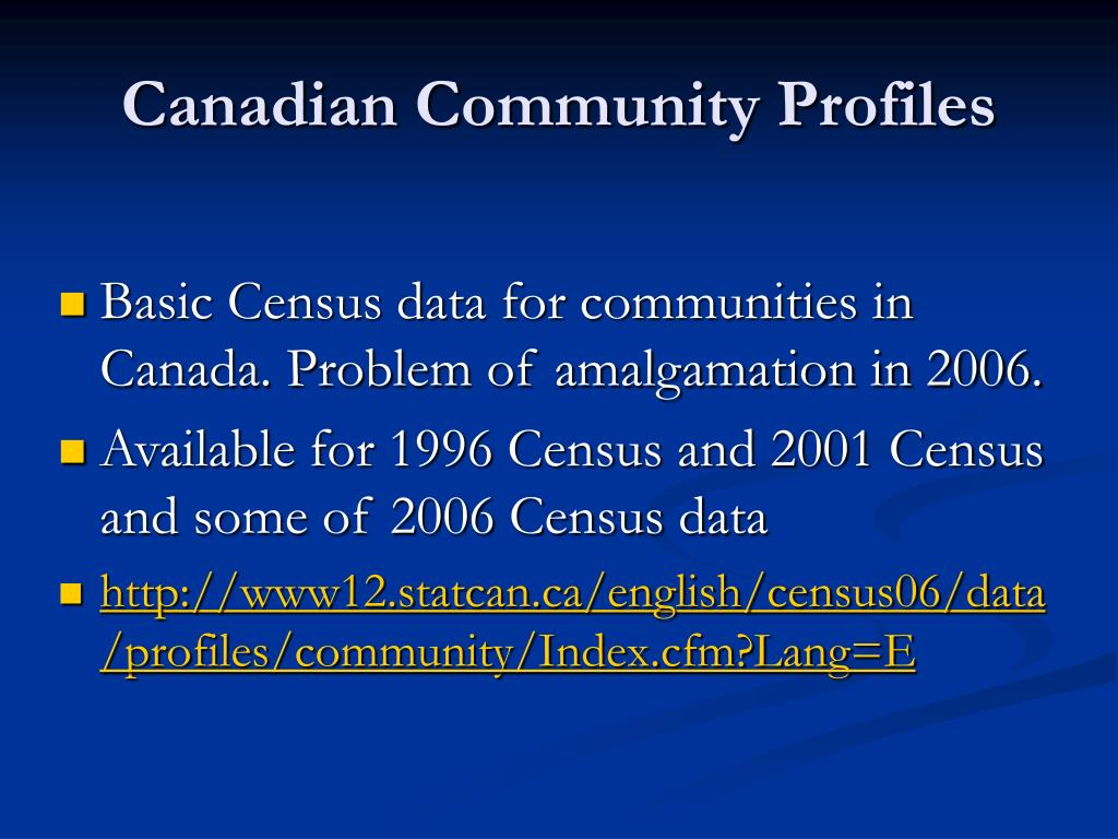 Canadian Community Profiles