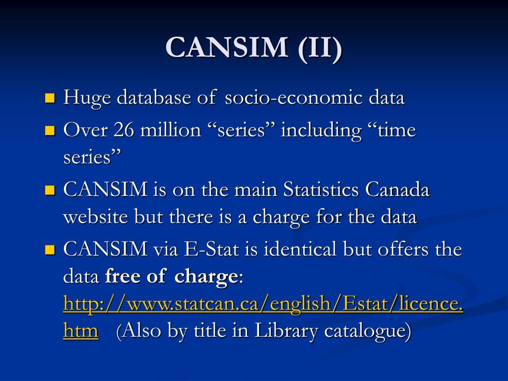 CANSIM (II)