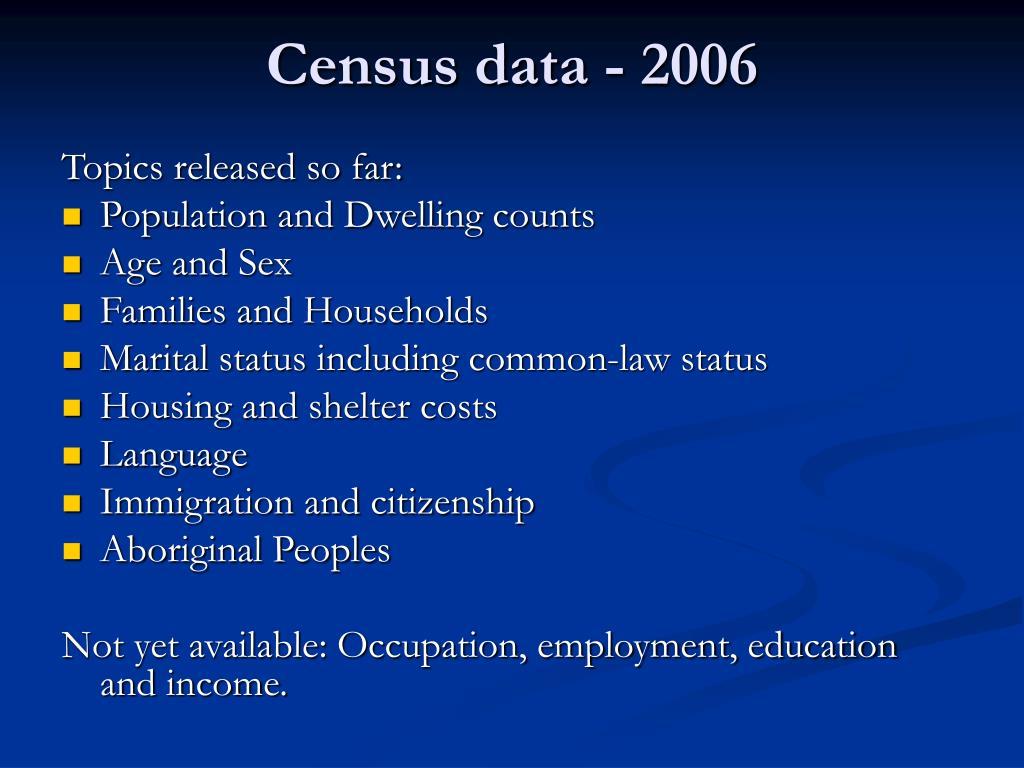 Census data - 2006