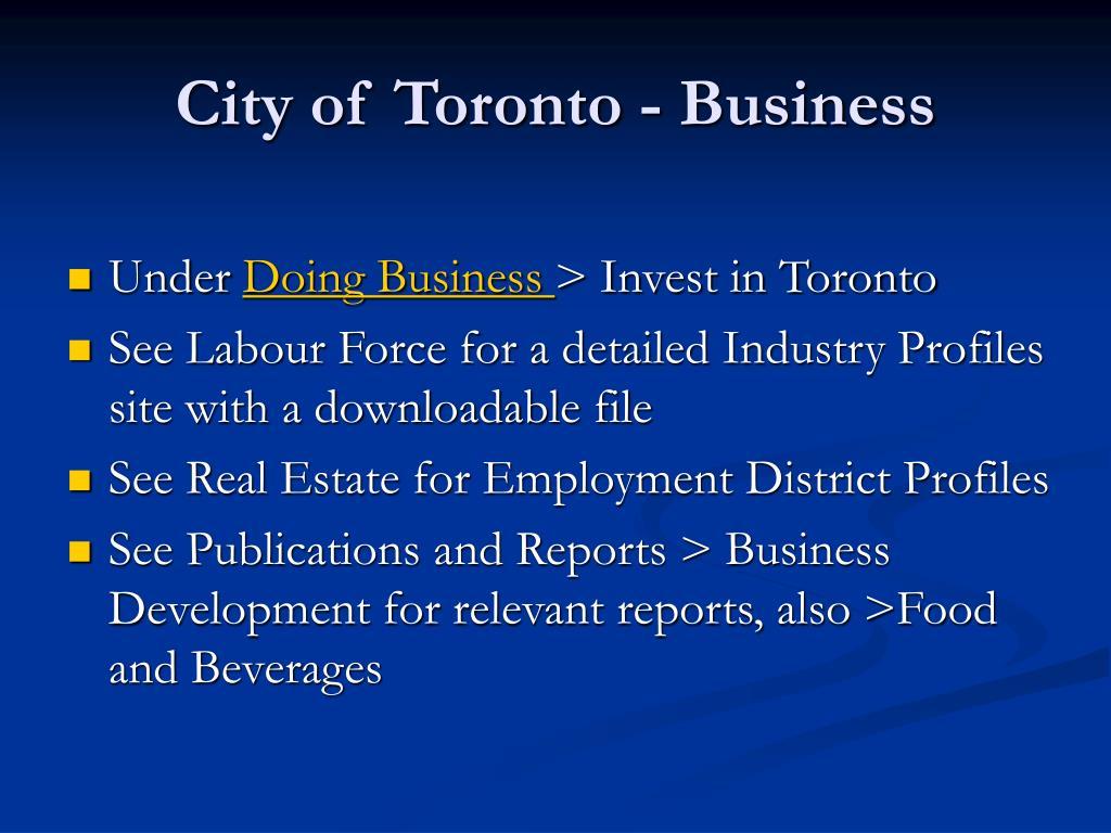 City of Toronto - Business