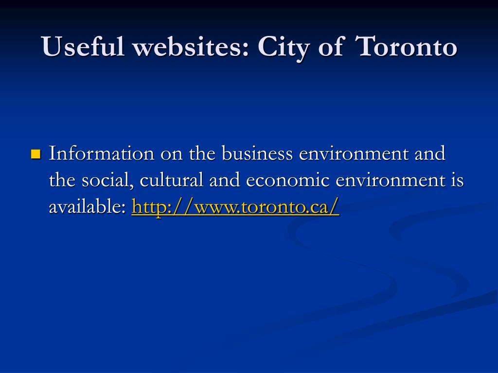 Useful websites: City of Toronto