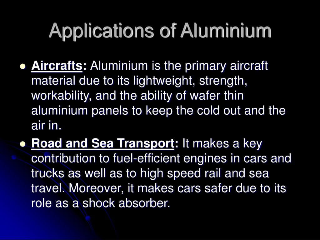 Applications of Aluminium