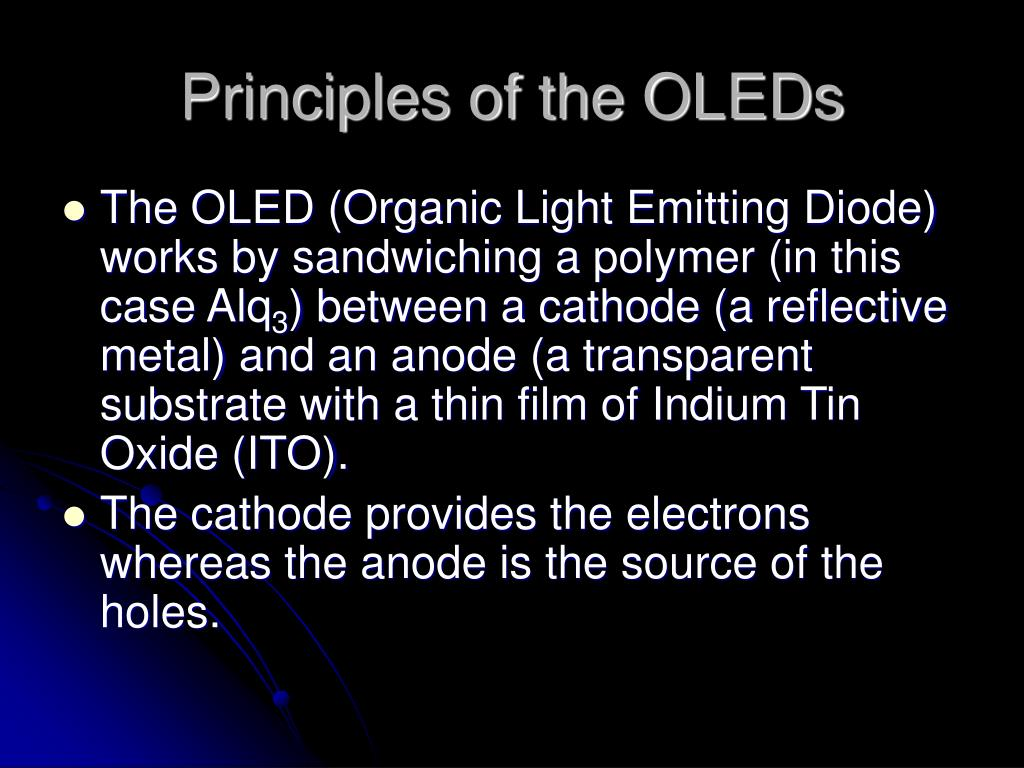 Principles of the OLEDs