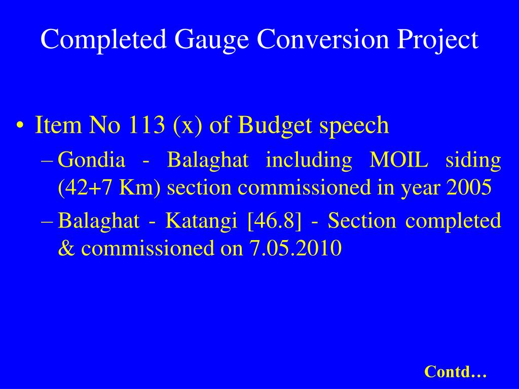 Completed Gauge Conversion Project