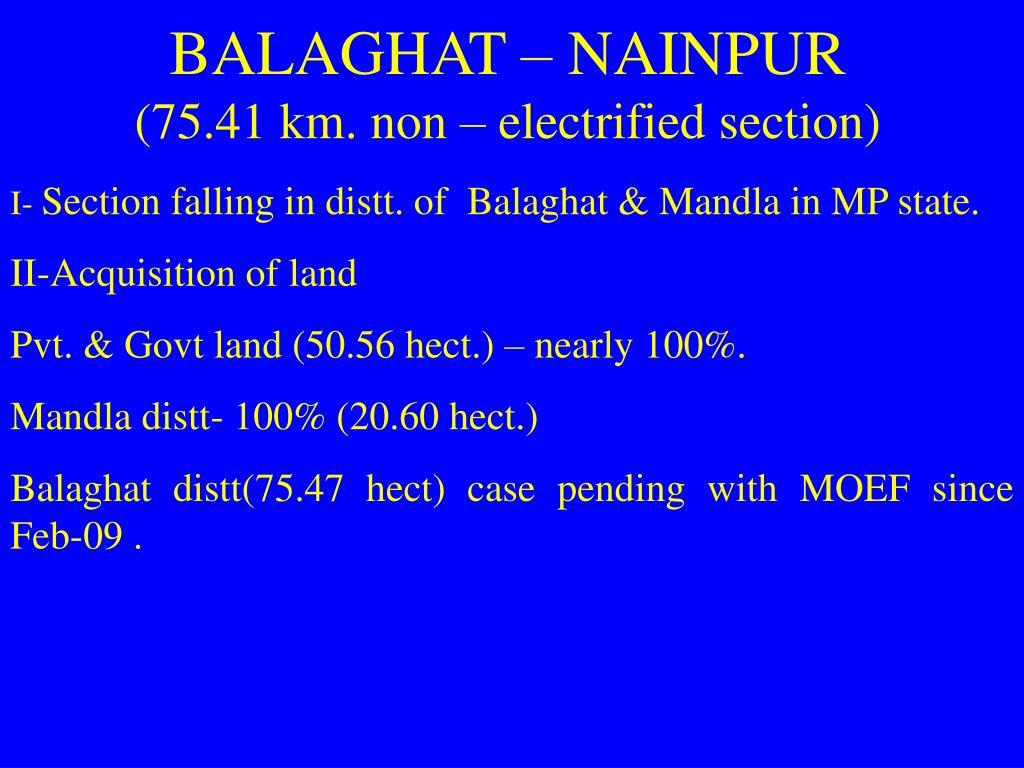 BALAGHAT – NAINPUR