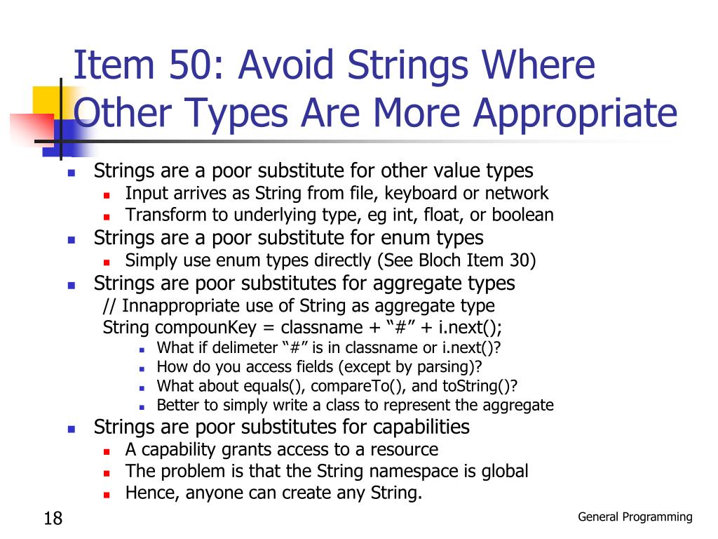 Item 50: Avoid Strings Where Other Types Are More Appropriate