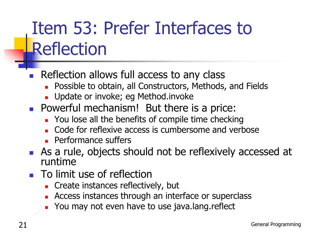 Item 53: Prefer Interfaces to Reflection
