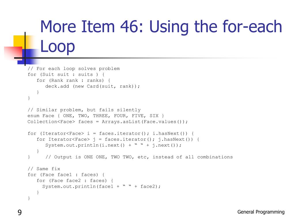 More Item 46: Using the for-each Loop