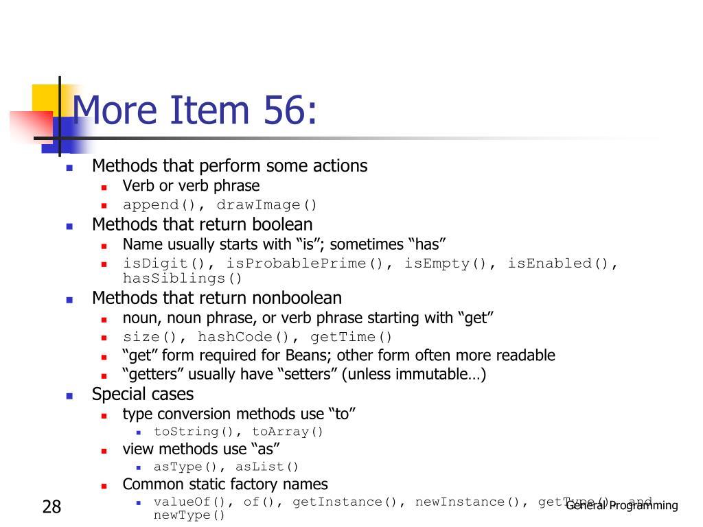 More Item 56: