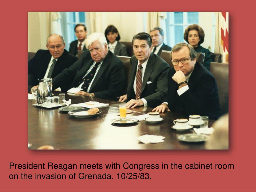 President Reagan meets with Congress in the cabinet room on the invasion of Grenada. 10/25/83.