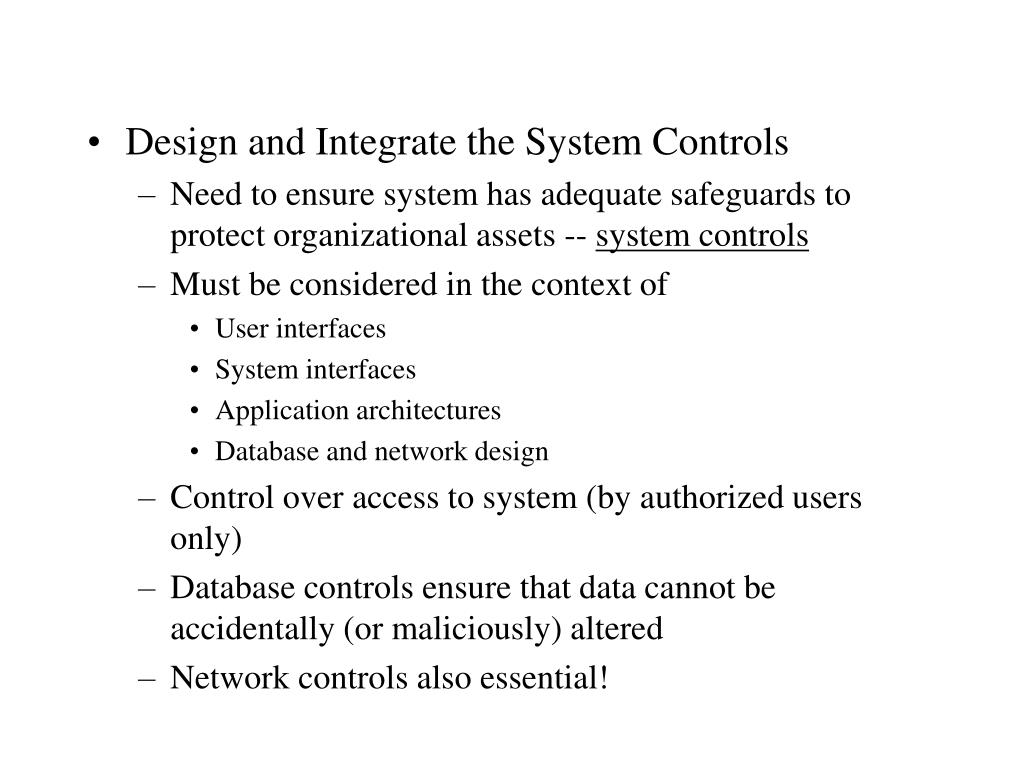 Design and Integrate the System Controls