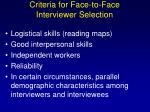 criteria for face to face interviewer selection