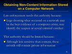 obtaining non content information stored on a computer network46