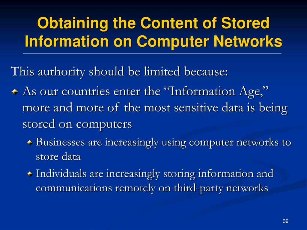 Obtaining the Content of Stored Information on Computer Networks