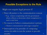 possible exceptions to the rule33