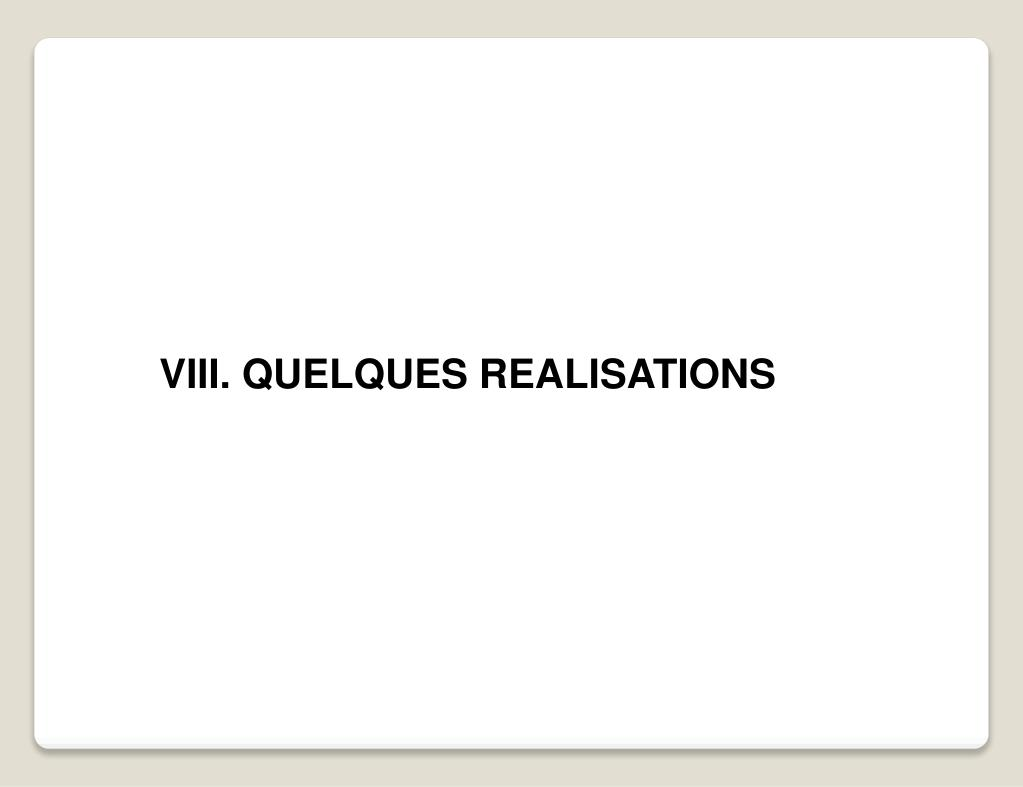 VIII. QUELQUES REALISATIONS