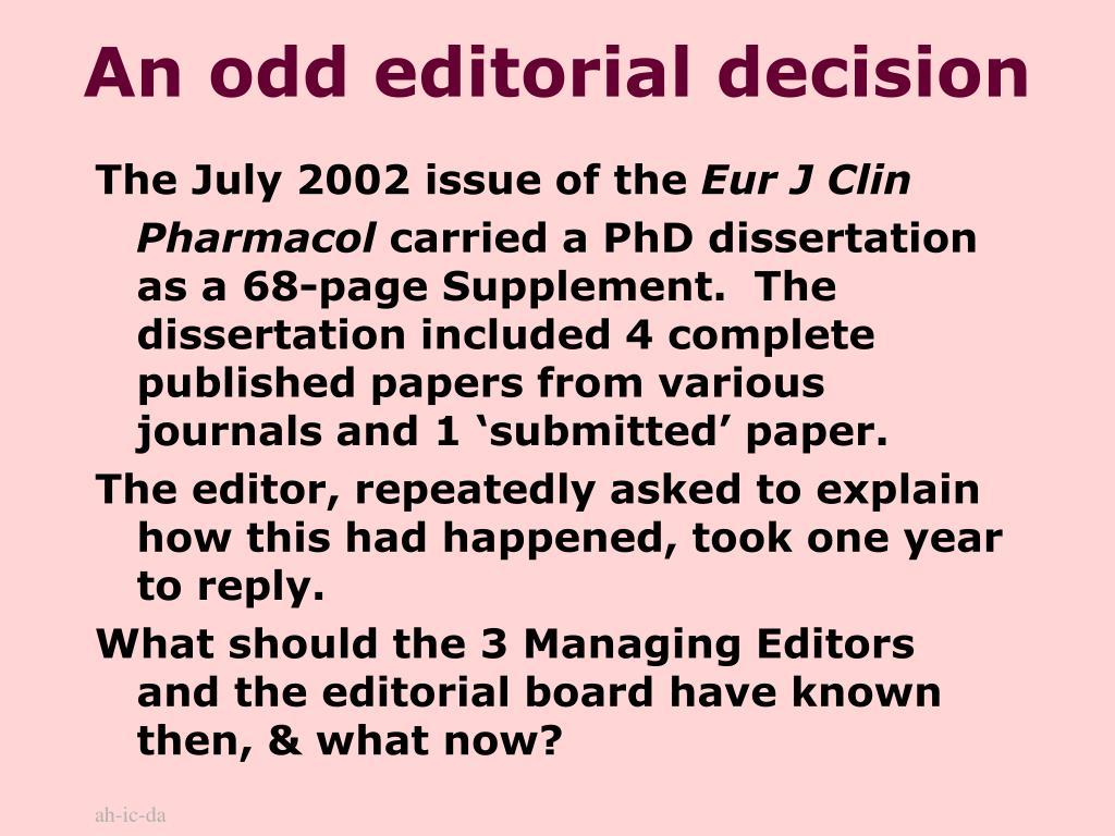 An odd editorial decision
