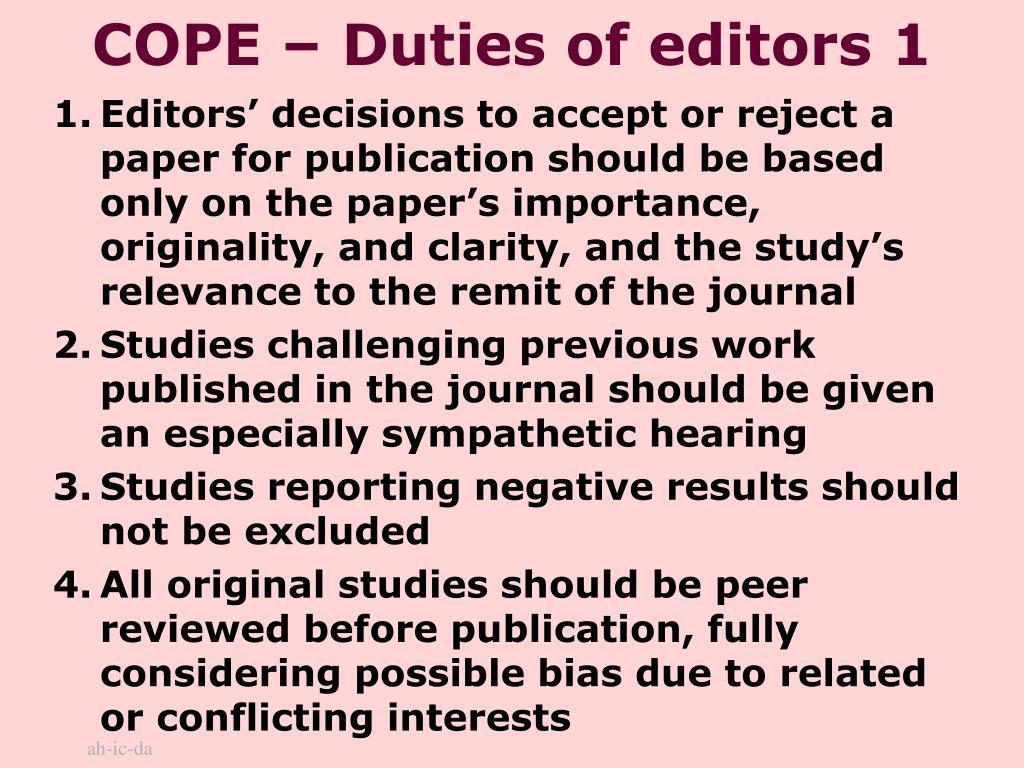 COPE – Duties of editors 1