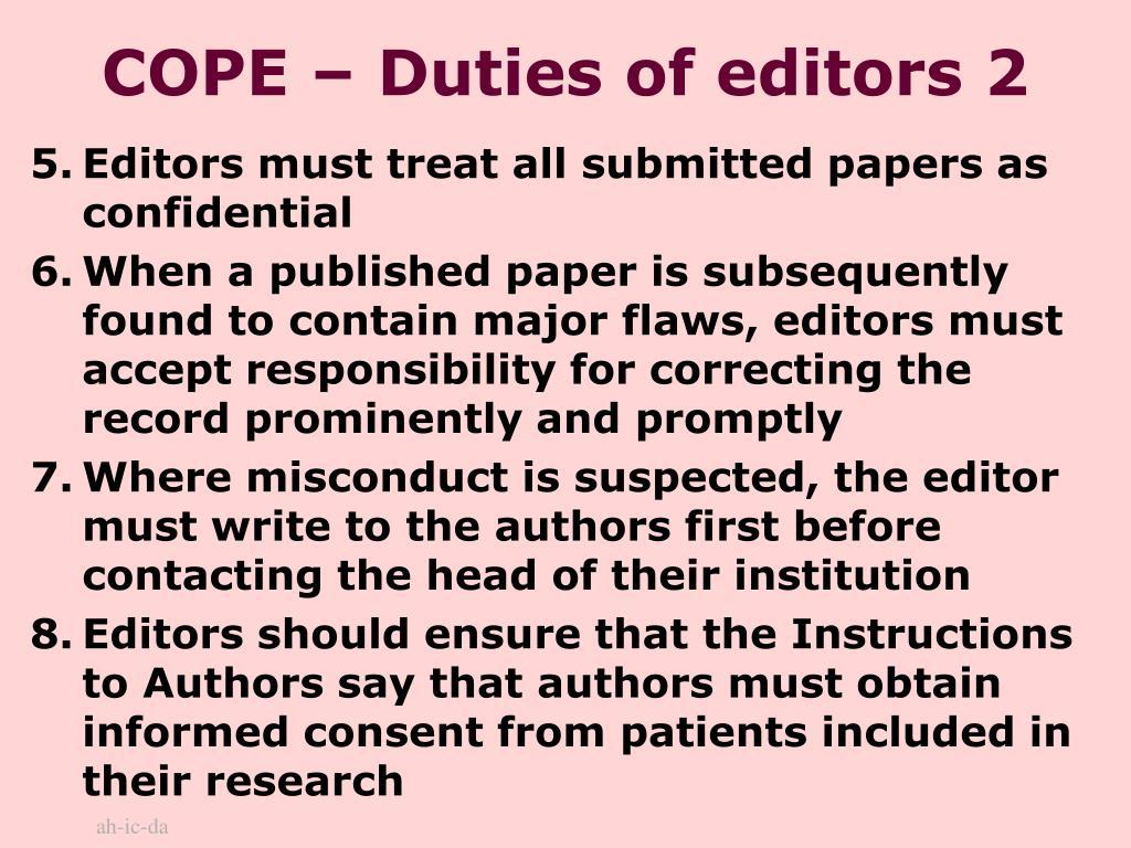 COPE – Duties of editors 2