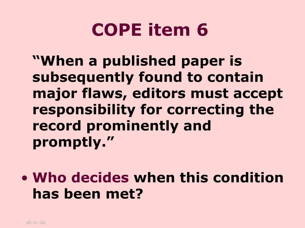 COPE item 6