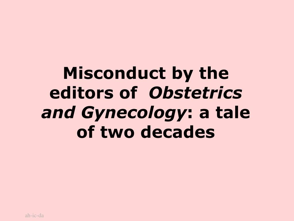 Misconduct by the editors of